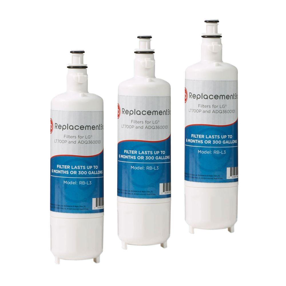 ReplacementBrand LT700P Comparable Refrigerator Water Filter (3-Pack)