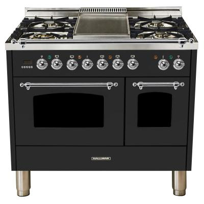 40 in. 4.0 cu. ft. Double Oven Dual Fuel Italian Range True Convection,5 Burners, Griddle, Chrome Trim in Matte Graphite