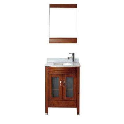 Alba 24 in. Vanity in Classic Cherry with Marble Vanity Top in Classic Cherry and Mirror