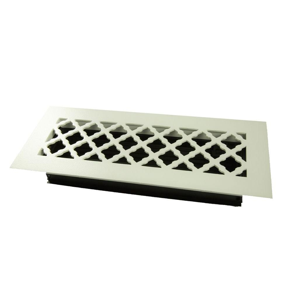 Tuscan 12 in. x 4 in. Steel Floor Register, White/Powder Coat