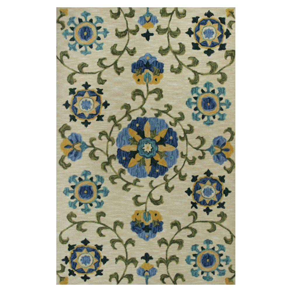 Kas Rugs Touch of Mosaic Ivory/Blue 7 ft. 9 in. x 9 ft. 9 in. Area Rug