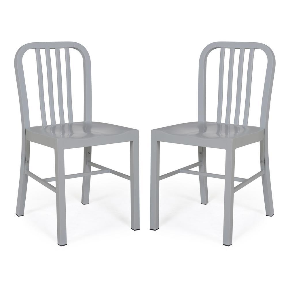 Westford Grey Rustic Metal Dining Side Chair