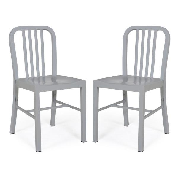 Poly and Bark Westford Grey Rustic Metal Dining Side Chair