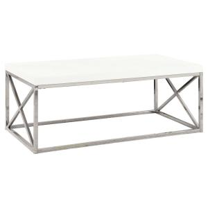 44 in. White/Chrome Large Rectangle Marble Coffee Table with Metal Design