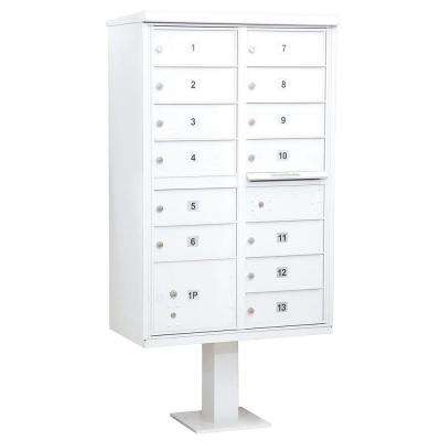 White USPS Access Cluster Box Unit with 13 B Size Doors and Pedestal