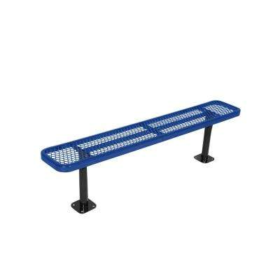 Surface Mount 8 ft. Blue Diamond Commercial Park Bench without Back
