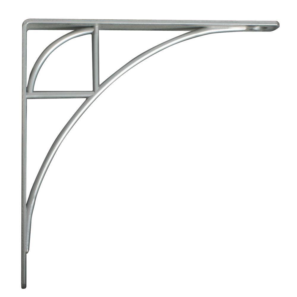 Oak Park 7.75 in. L x 0.75 in. W Satin Nickel 100 lb. Decorative Shelf Bracket