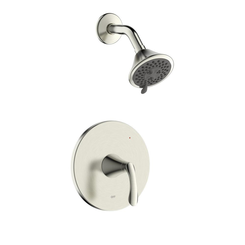 Fontaine by Italia Arts et Metiers Single Handle 3-Spray Round Shower Faucet with Rough-In Valve in Brushed Nickel
