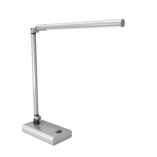 26 in. Silver Adjustable Contemporary LED Desk Lamp