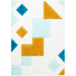 San Francisco Teahupo Blue Modern Geometric Abstract 3 ft. 11 in. x 5 ft. 3 in. 3D Carved Shag Area Rug