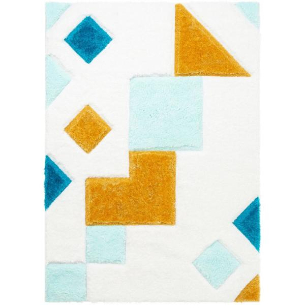 San Francisco Teahupo Blue Modern Geometric Abstract 7 ft. 10 in. x 9 ft. 10 in. 3D Carved Shag Area Rug