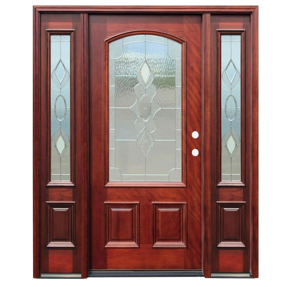 68 in. x 80 in. Strathmore Traditional 3/4 Lite Arch Stained