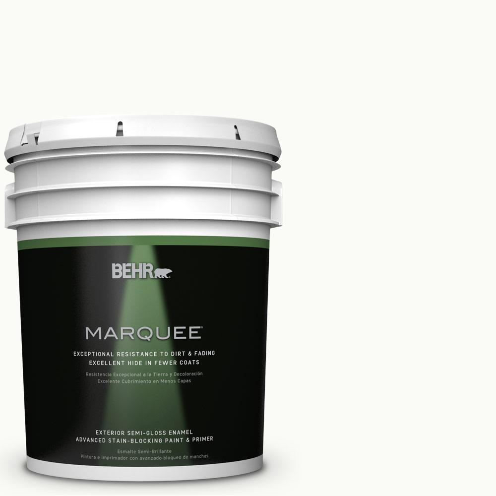 BEHR MARQUEE 5 gal. #PPU18-6 Ultra Pure White Semi-Gloss Enamel Exterior Paint and Primer in One