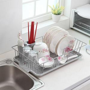 Stainless Steel Dish Rack with Plastic Drain Board by