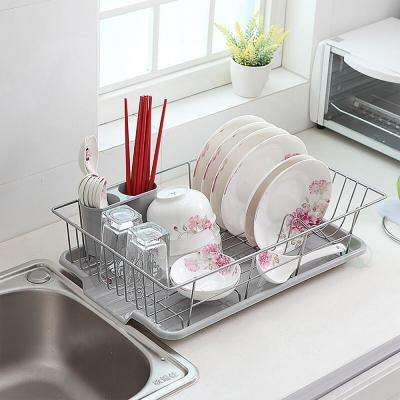 Stainless Steel Dish Rack with Plastic Drain Board