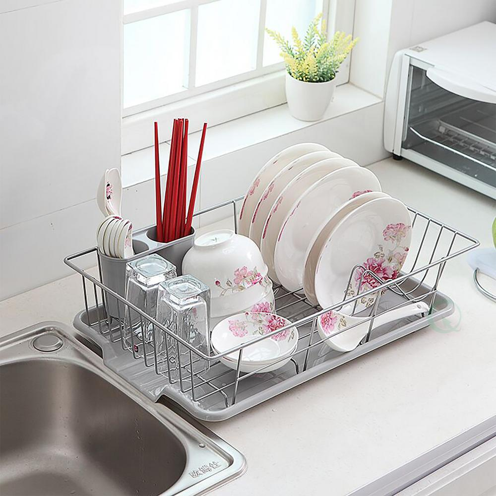 stainless steel dish rack with plastic drain board qi003218 the home depot. Black Bedroom Furniture Sets. Home Design Ideas