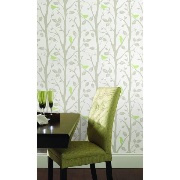 Nuwallpaper Grey And Green Sitting In A Tree Peel And Stick Wallpaper Nu1655 The Home Depot