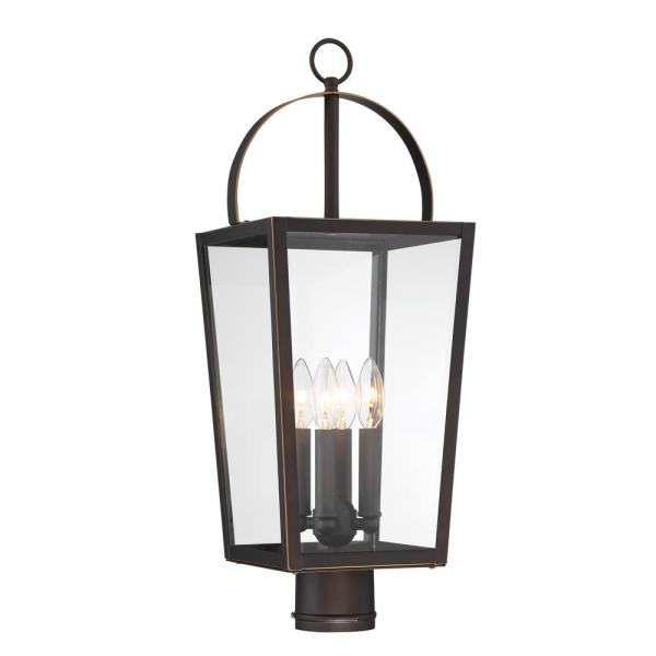 Rangeline Large 4-Light Oil Rubbed Bronze with Gold Highlights Outdoor Post Lantern