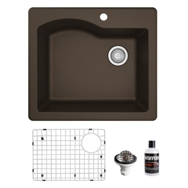 QT-671 Top Mount Quartz/Granite Composite 25 in. Single Bowl Drop-In Kitchen Sink with Grid & Basket Strainer in Brown