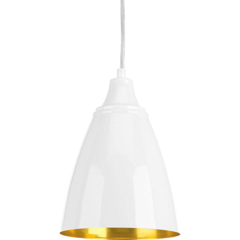 Progress Lighting Pure Integrated LED Collection 1-Light White Cord Hung Mini Pendant with Metal Shade