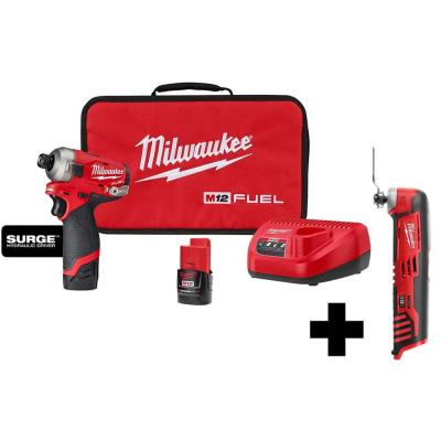 M12 FUEL SURGE 12-Volt Lithium-Ion Brushless Cordless 1/4 in. Hex Impact Driver Compact Kit with M12 Multi-Tool