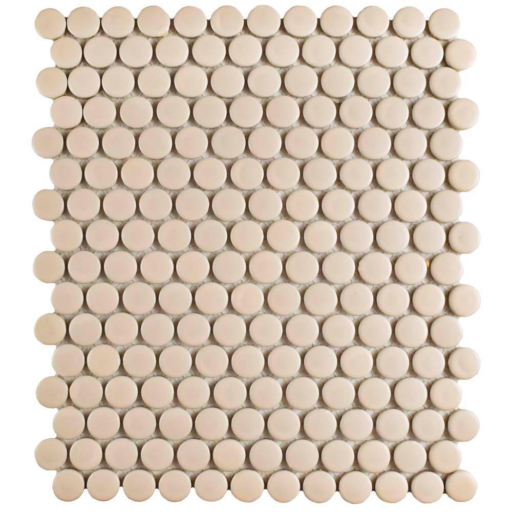 Merola Tile Metro Penny Matte Biscuit 9-3/4 in. x 11-1/2 in. x 6 mm Porcelain Mosaic Tile (8 sq. ft. / case)