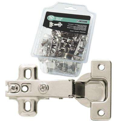 3 in. x 2-1/2 in. Full Overlay 35 mm 110° Nickel-Plated  Hinge (10-Pack)