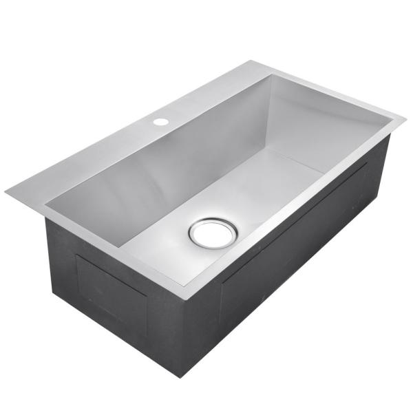 Golden Vantage Handmade Drop In Stainless Steel 33 In X 22 In X 9 In 1 Hole Single Bowl Kitchen Sink In Brushed Finish Ks0105 The Home Depot