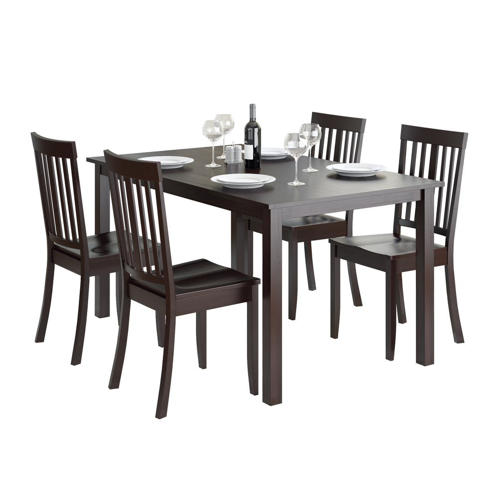 Atwood 5-Piece Dining Set with Cappuccino Stained Chairs