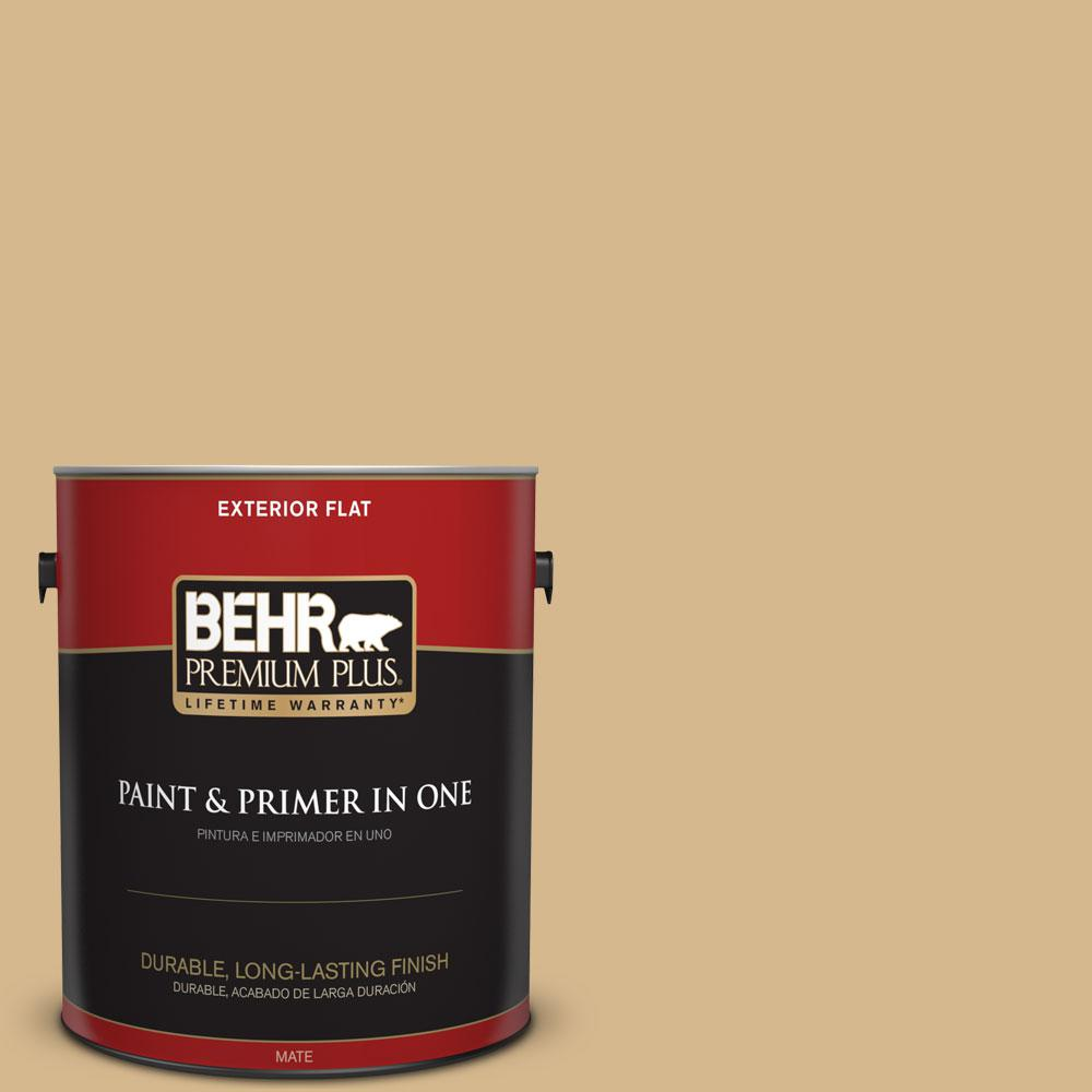 BEHR Premium Plus 1-gal. #BXC-34 Mineral Yellow Flat Exterior Paint