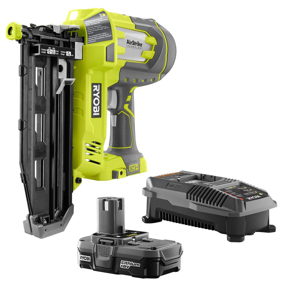 RYOBI 18-Volt ONE+ Lithium-Ion Cordless AirStrike 16-Gauge 2-1/2 in Straight Finish Nailer Kit with 1.3 Ah Battery and Charger