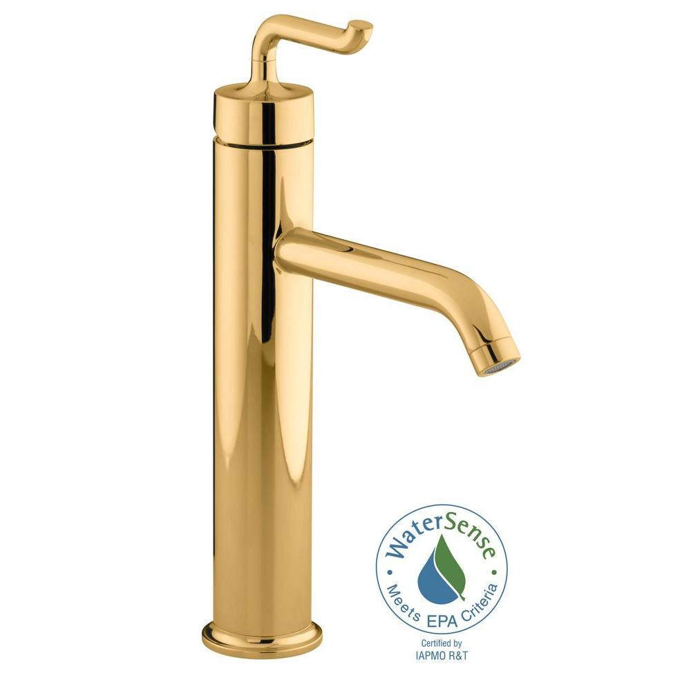 Kohler purist tall single hole single handle low arc bathroom vessel sink faucet in vibrant for Polished gold bathroom faucets