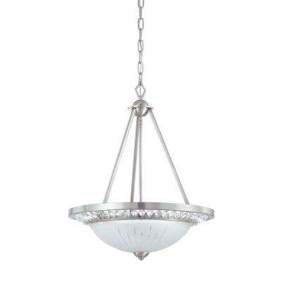 Cascade Collection 3-Light Polished Nickel Hanging Pendant with Scavo Glass Shade