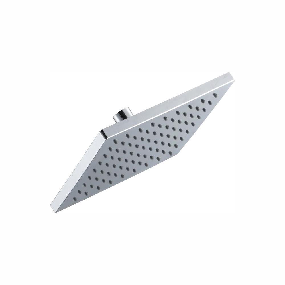 Modern 1-Spray 8 in. Single Wall Mount Fixed Rain Shower Head in Chrome