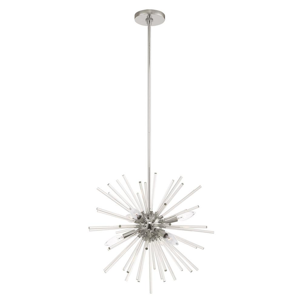 Livex Lighting Utopia 6-Light Polished Chrome Starburst Pendant Chandelier with Clear Crystal Rods