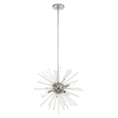 Utopia 6-Light Polished Chrome Starburst Pendant Chandelier with Clear Crystal Rods