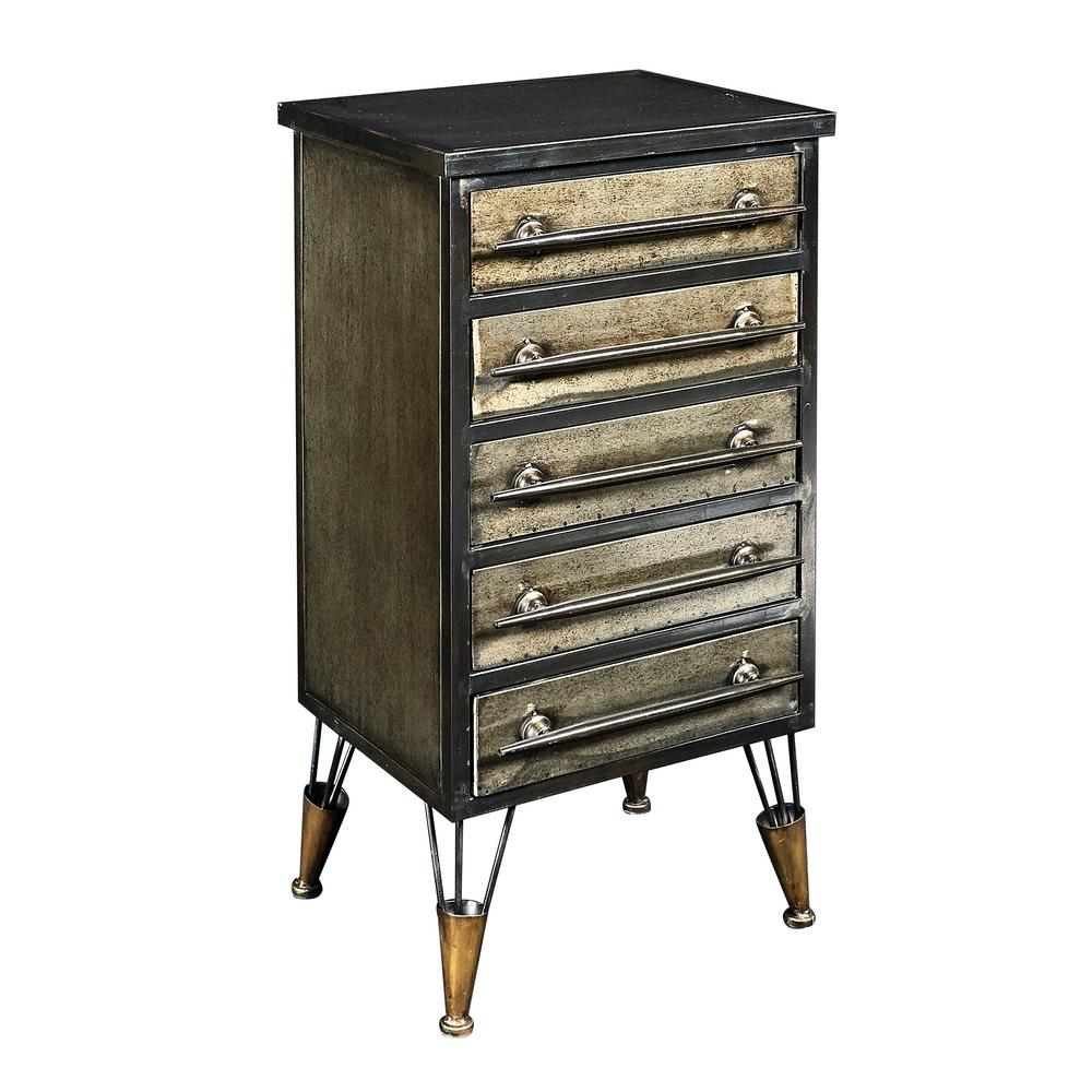Linon Home Decor Cade Metal Chest Accent Cabinet With Drawers