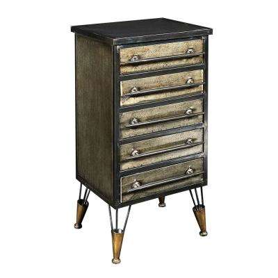 Cade Industrial Metal Chest Accent Cabinet with Drawers