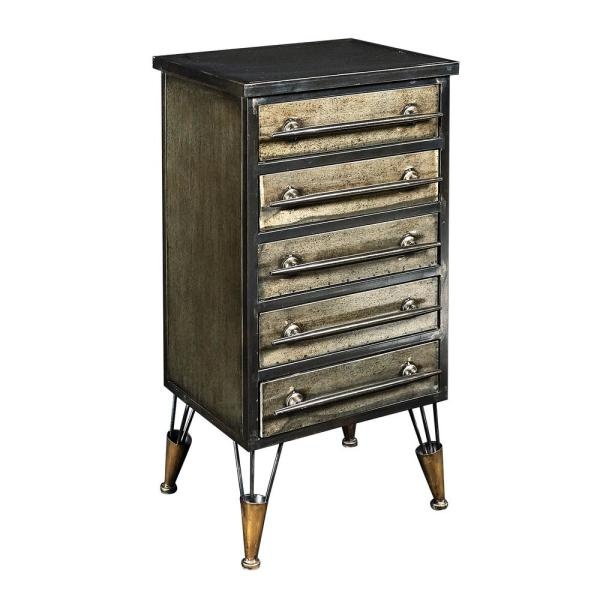 Linon Home Decor Cade Industrial Metal Chest Accent Cabinet with Drawers