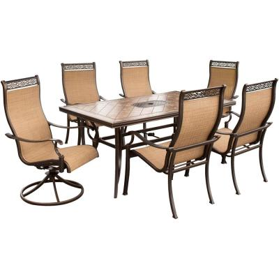 Monaco 7-Piece Aluminum Rectangular Outdoor Dining Set with Tile-Top Table and Contoured 2 Swivels