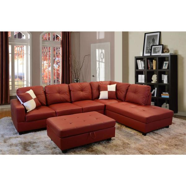 Undefined Red Right Chaise Sectional With Storage Ottoman