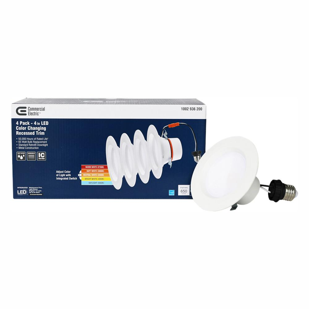 Commercial Electric 4 in  Matte White Integrated LED Recessed Trim 5-ways  (4-Pack)