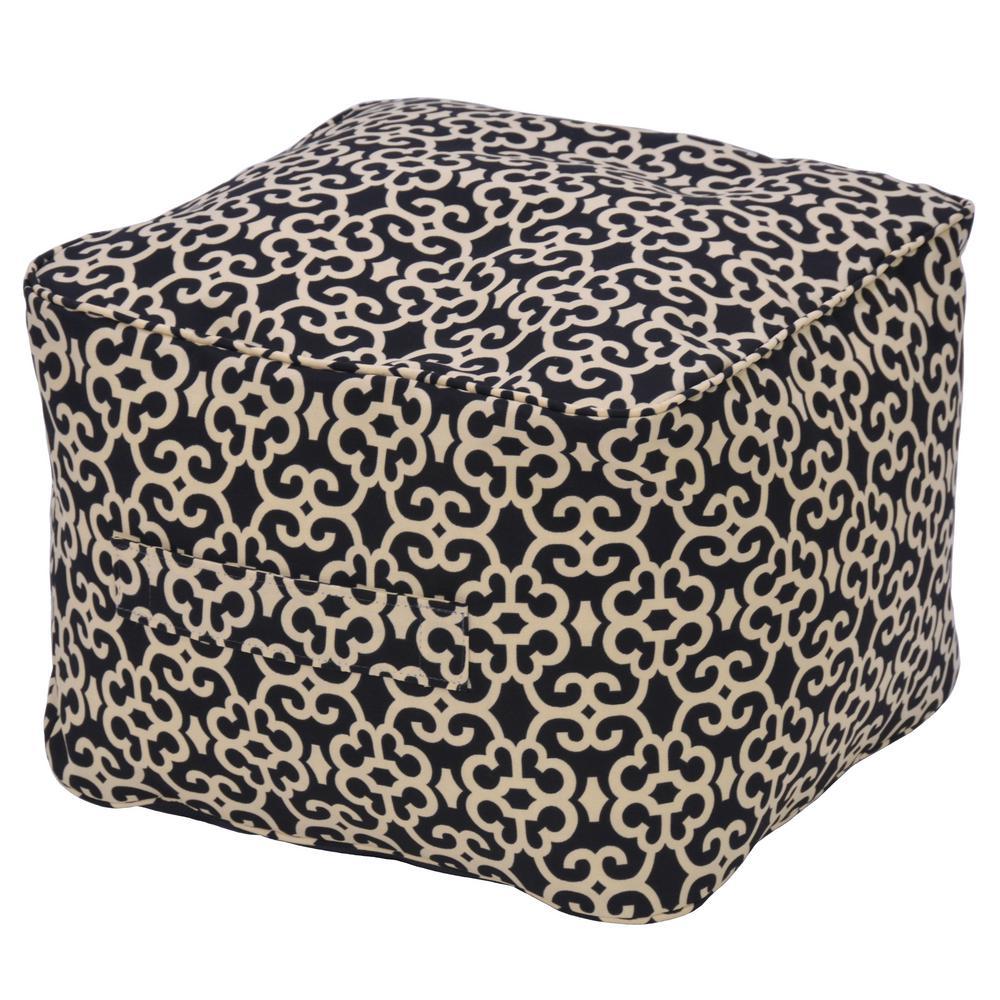 Black Trellis Outdoor Pouf Cushion
