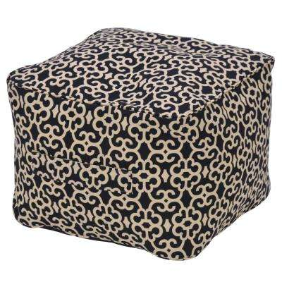 Black Trellis Outdoor Pouf Cushion