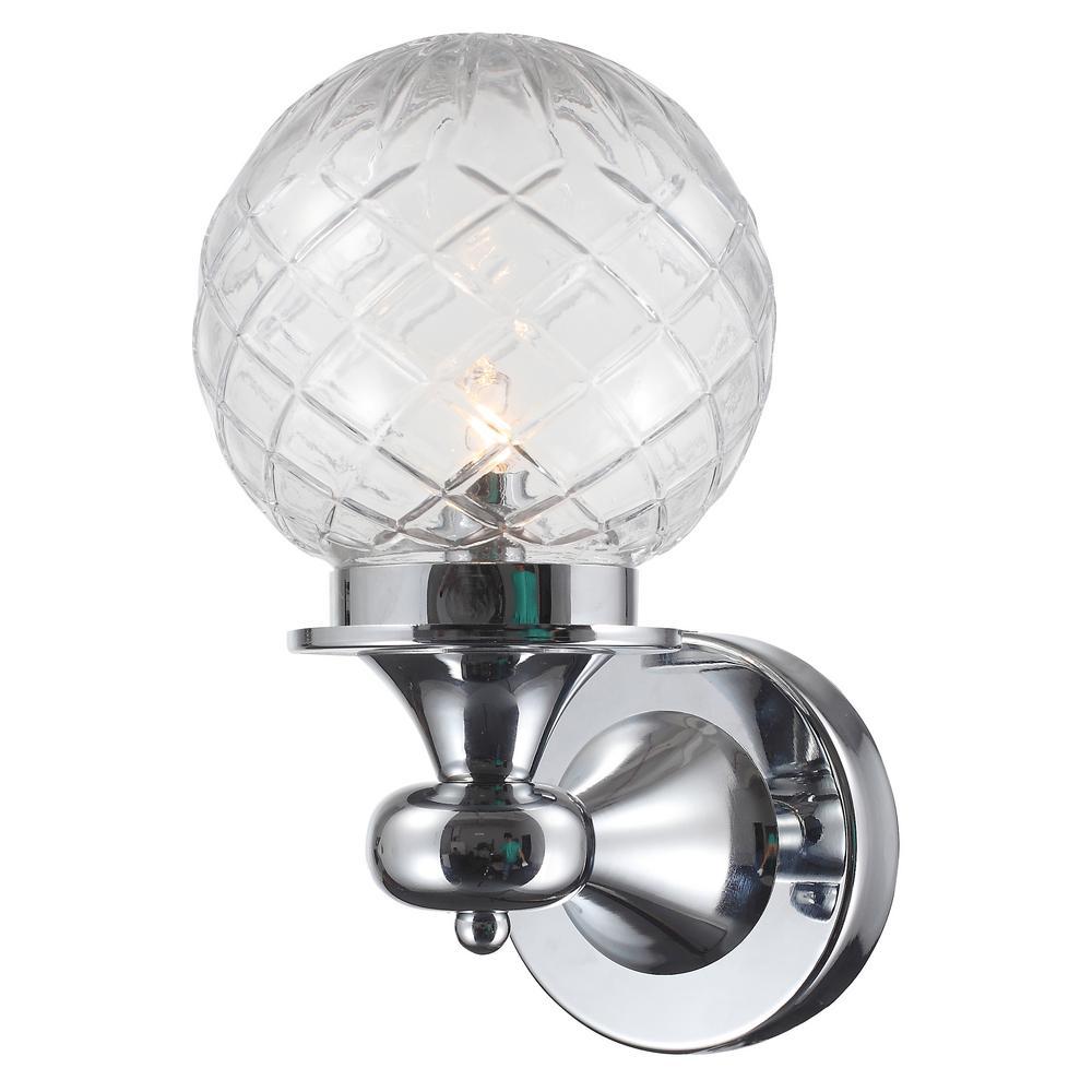 1-Light Polished Chrome Wall Mount Cylinder Bath Light