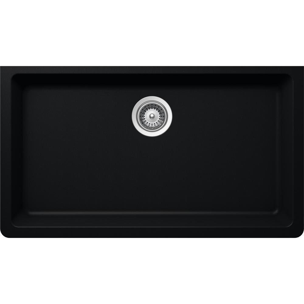 Superb Elkay Elkay By Schock Undermount Quartz Composite 33 In. Single Bowl Kitchen  Sink In Black HDSBU33189QB   The Home Depot