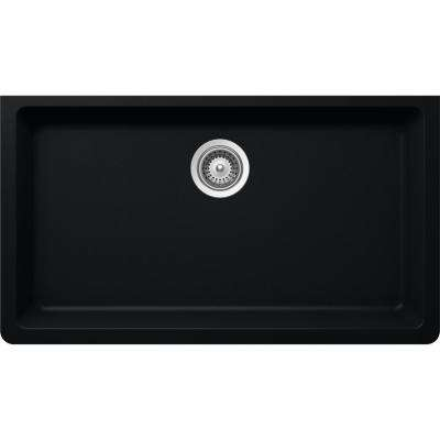 Elkay by Schock Undermount Quartz Composite 33 in. Single Bowl Kitchen Sink in Black