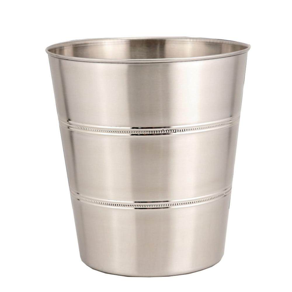 3 gal. Beaded Brushed Stainless Steel Round Trash Can