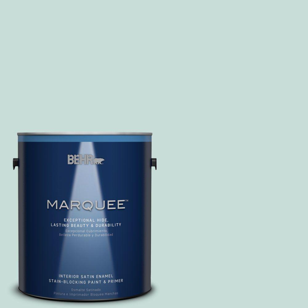 Behr Marquee 1 Gal Mq3 20 Whipped Mint One Coat Hide Satin Enamel Interior Paint 745001 The