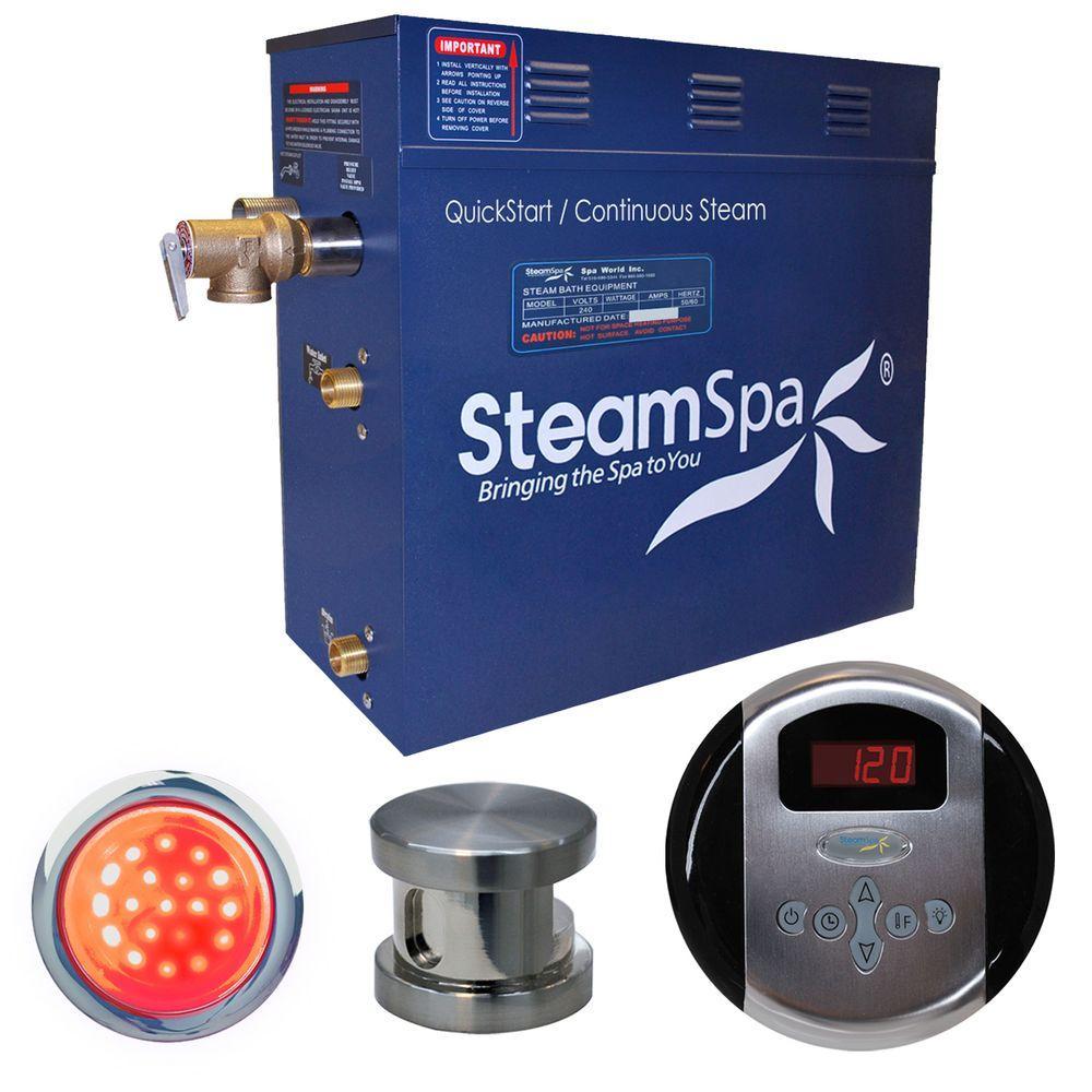 SteamSpa Indulgence 4.5kW Steam Bath Generator Package in Brushed Nickel by SteamSpa
